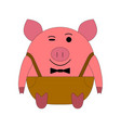 pink pig on a white background in pants with vector image