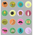 pirate flat icons 20 vector image