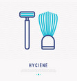 razor and shaving brush thin line icon vector image vector image