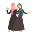 saudi arab muslim women with smartphone selfie vector image