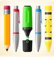 school tools - pen pencil highlighter crayon vector image