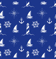 sea and nautical seamless pattern on blue vector image vector image