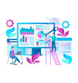 seo optimization concept teamwork vector image vector image