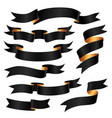 set of black ribbons vector image vector image