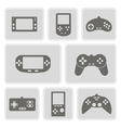 set of monochrome icons with game consoles vector image