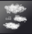 set of transparent white clouds in the background vector image
