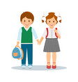 shcoolchildren- boy and girl vector image vector image