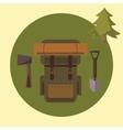 Small camping set backpack ax spade vector image