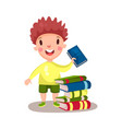 smiling curly boy standing next to a pile of books vector image vector image