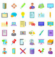 taking notes icons set cartoon style vector image
