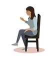 talking woman seating at chair vector image