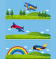 three scenes with airplanes in sky vector image vector image