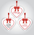 valentines day set sticker hanging on red vector image vector image