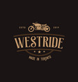 vintage motorcycle logo design dark backgrounds vector image