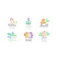 wellness center logo design collection healthy vector image vector image