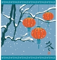 winter landscape with Chinese lanterns vector image vector image