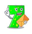 with envelope number seven sign on door cartoon vector image
