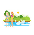 young tanned girls rest and bathe on the lake vector image