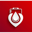 Donate blood concept design on red background vector image