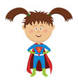 cute funny little girl wearing superhero costume vector image