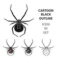 black widow spider icon in cartoon style isolated vector image