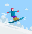 boy on snowboard riding downhill vector image