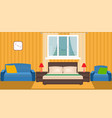 bright bedroom interior with furniture and window vector image vector image