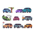 car accident damaged vehicle on road auto vector image