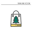 christmas gift thin line icon present shopping vector image vector image