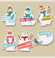 christmas stickers collection with snowman vector image vector image