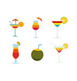 cocktail icon set flat style vector image