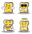collection bread character cartoon set vector image vector image