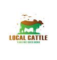 cow farm modern logo vector image vector image