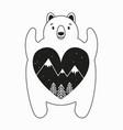 cute bear with heart inside pine trees stars