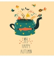 Cute teapot with autumn herbs and birds vector image vector image