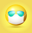 emoji emoticon with medical mask and sunglasses on vector image vector image