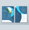 flyer with minimal cyan blue geometric design vector image