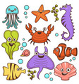 funny marine inhabitants with cute friendly faces vector image vector image