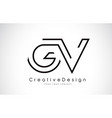 gv g v letter logo design in black colors vector image vector image
