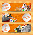 halloween banners with flat stickers vector image vector image