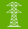 high voltage tower icon green vector image vector image