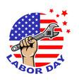 labor day circle badge vector image vector image