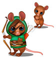 mouse archer in green and face with battle color vector image