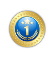 number one quality badge placed on white vector image vector image