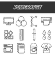 Polygraphy flat icons set vector image vector image