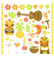 Retro hawaiian luau tiki party design elements
