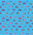 seamless pattern with cute fishes vector image vector image