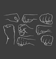 set of fists vector image