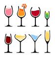 set wine glass vector image vector image