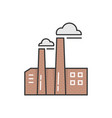 simple outline brick factory icon vector image